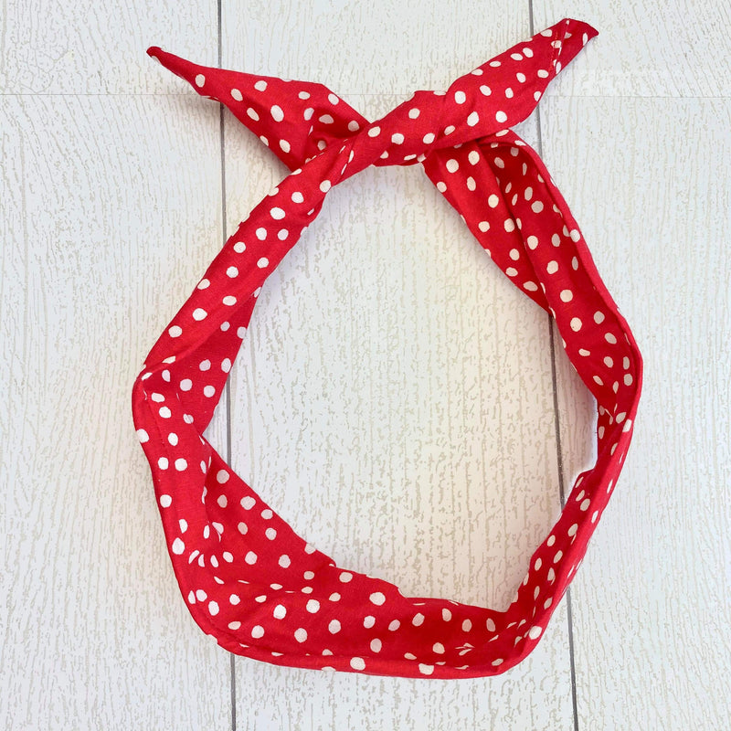Wire Headband - Red Polka Dots