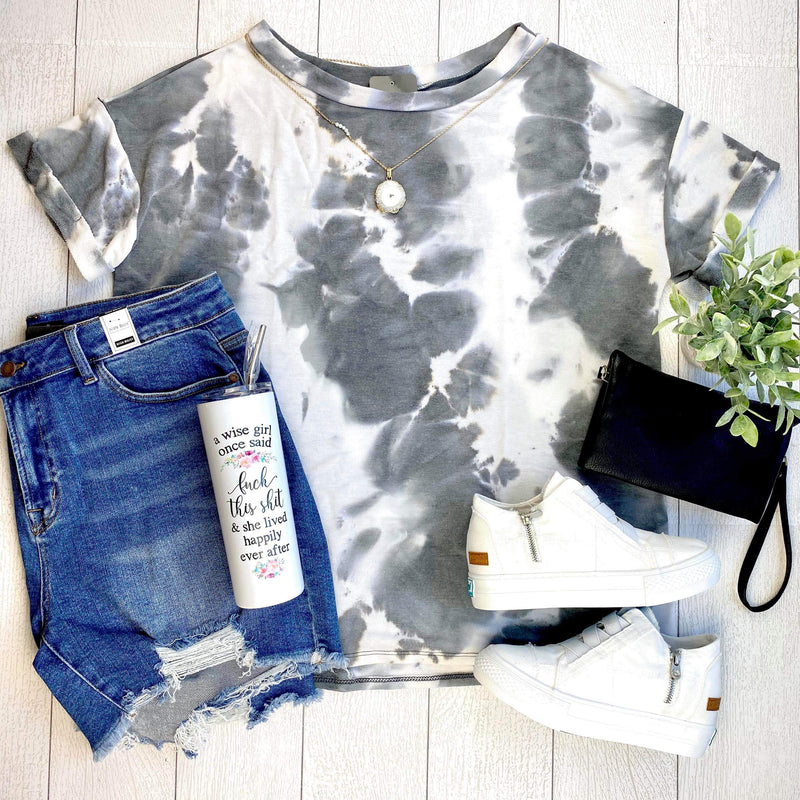 Grey Tie Dye Knit Top