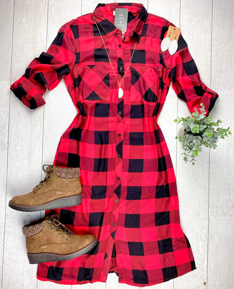Buffalo Plaid Button Down Dress