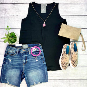 Sleeveless Woven Top - Black