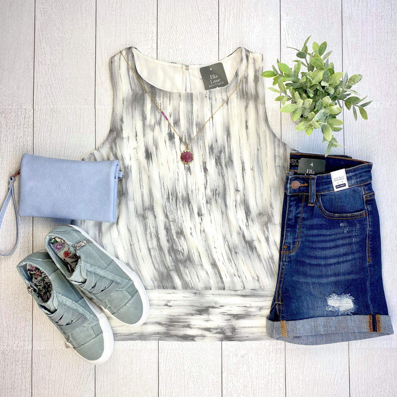 Grey Abstract Sleeveless Top