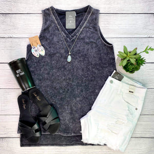 Mineral Wash Tank - Charcoal FINAL SALE