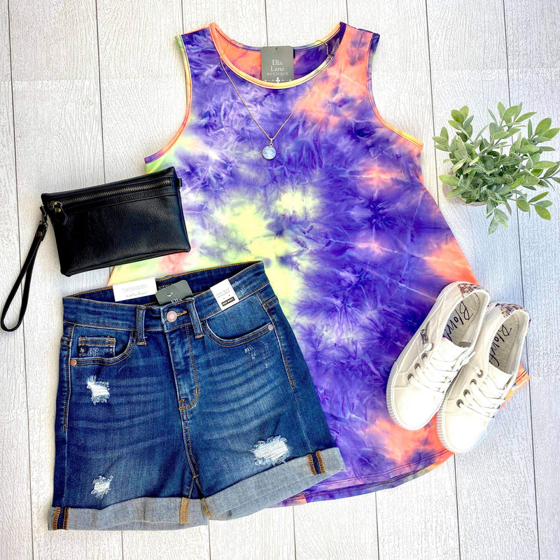 Neon Sleeveless Tie Dye Tank FINAL SALE