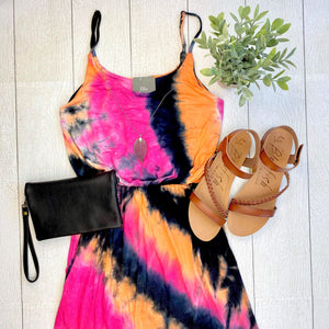 Fuchsia Mix Tie Dye Maxi Dress
