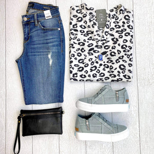 Fall Cheetah Top - White