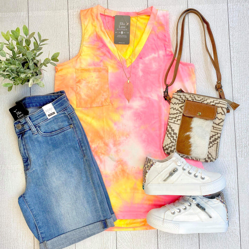 Tie Dye Pocket V Neck Tank - Orange/Pink Neon FINAL SALE