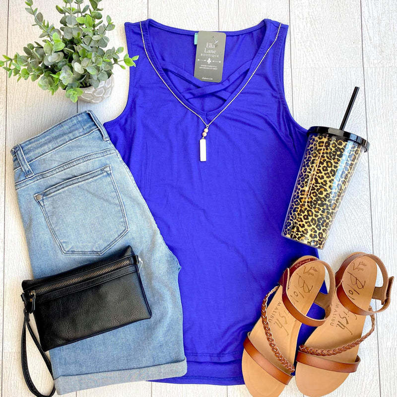 Allie Criss Cross Tank - Royal Blue