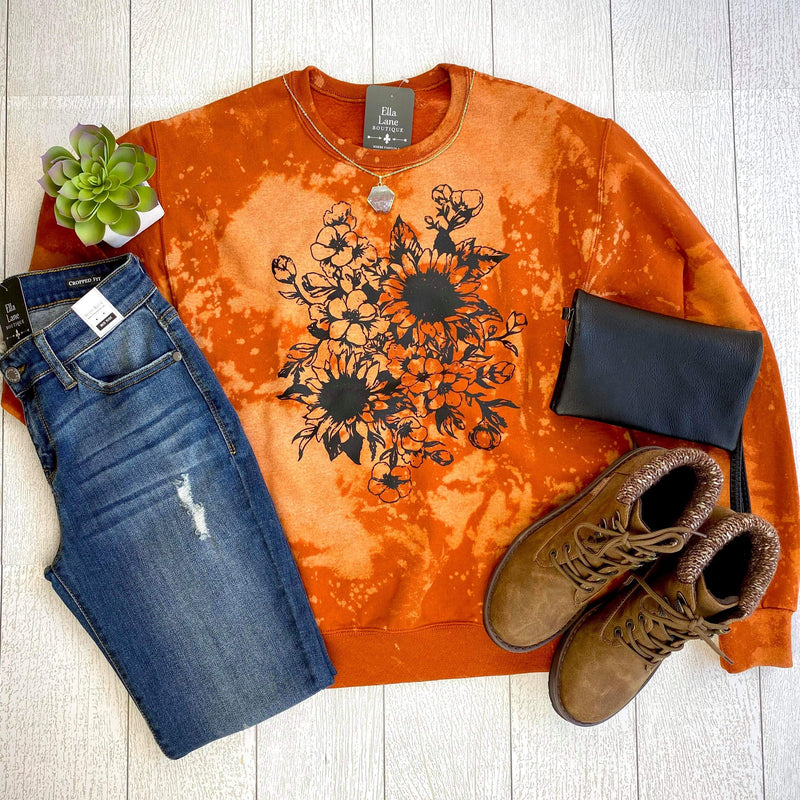 Distressed Sunflower Pullover Sweatshirt