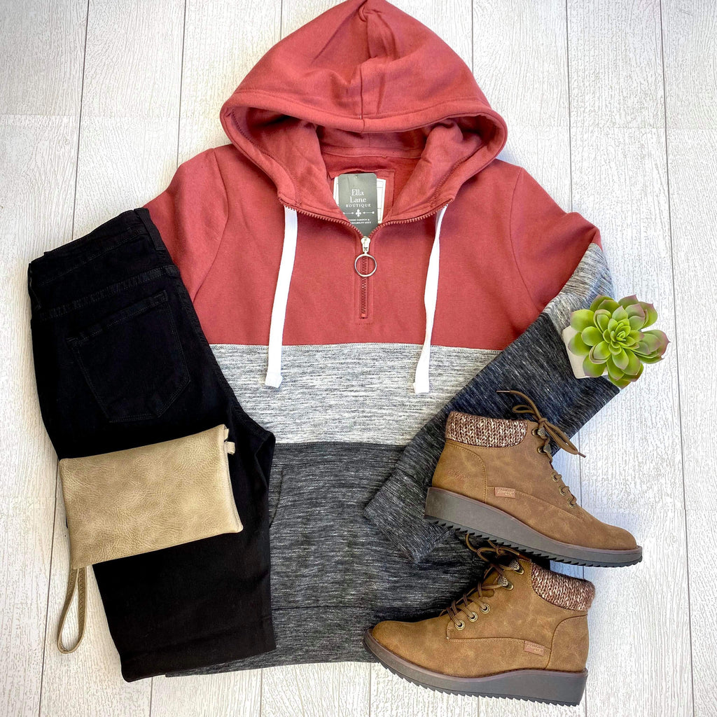 Color Block Half Zip Hoodie - Brick