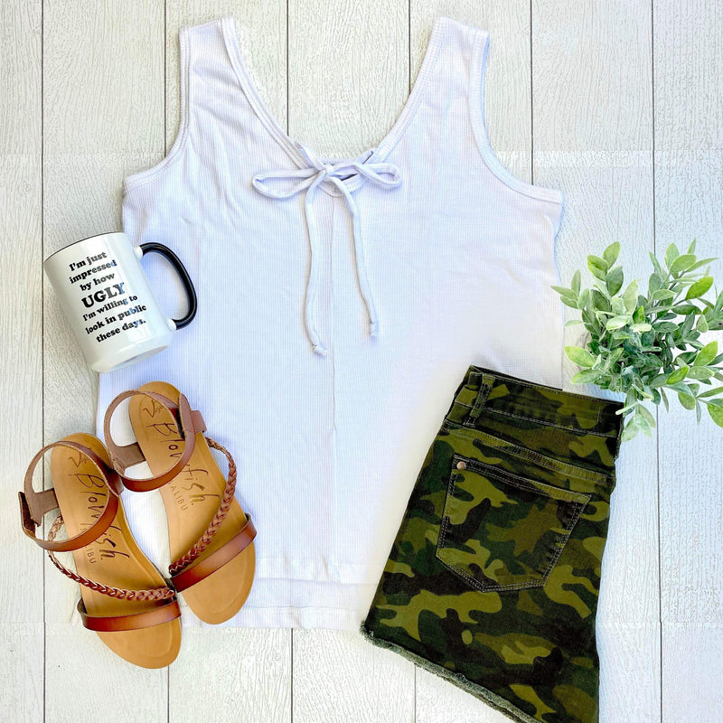 Grace Sleeveless Top - White