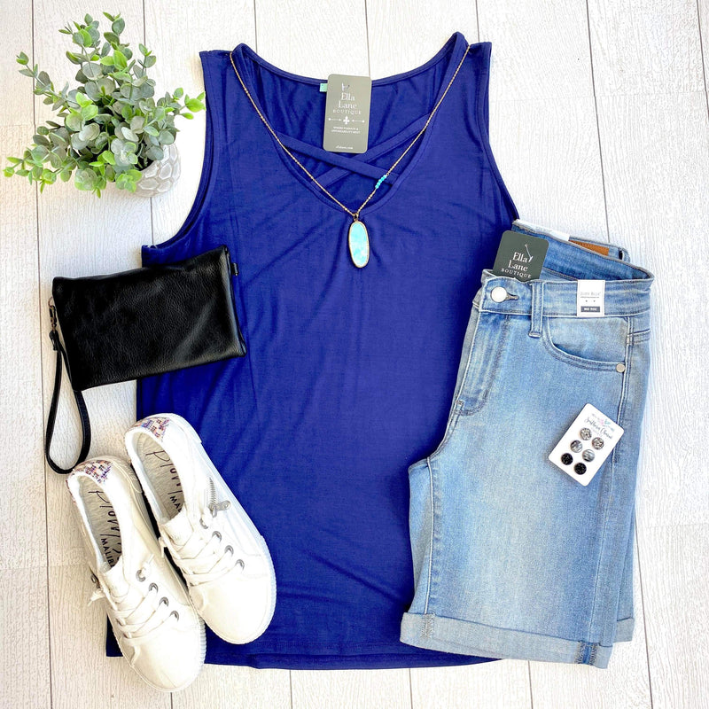 Allie Criss Cross Tank - Navy