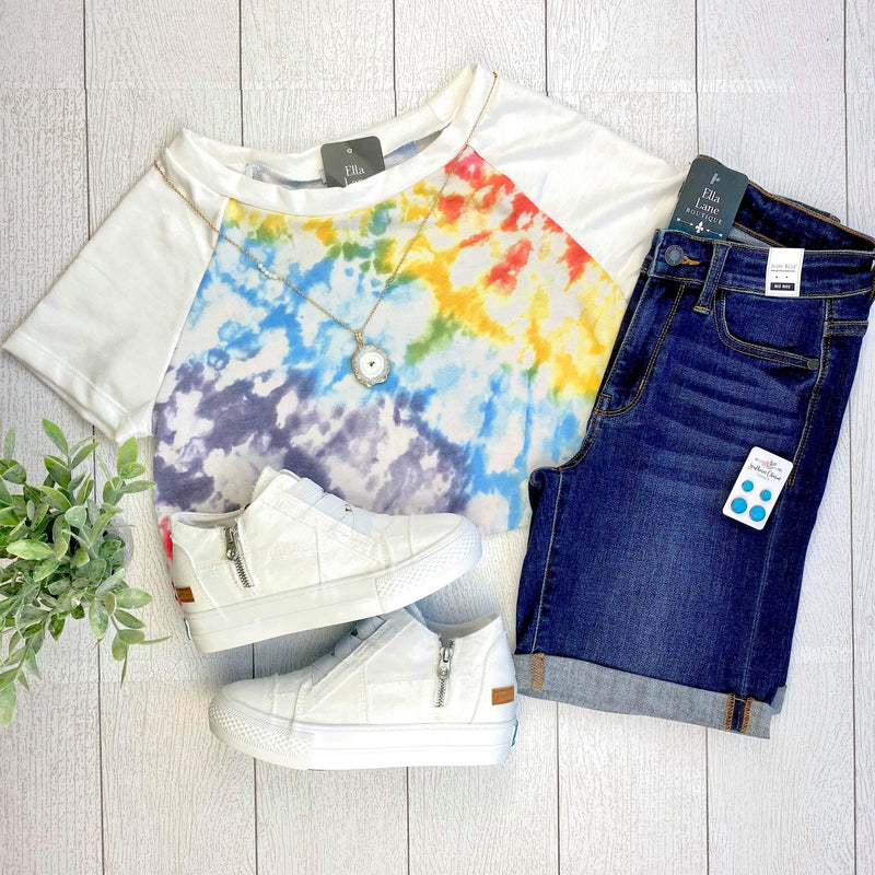 Rainbow Tie Dye Short Sleeve Top FINAL SALE