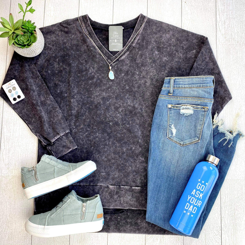 Mineral Wash Long Sleeve Top - Charcoal
