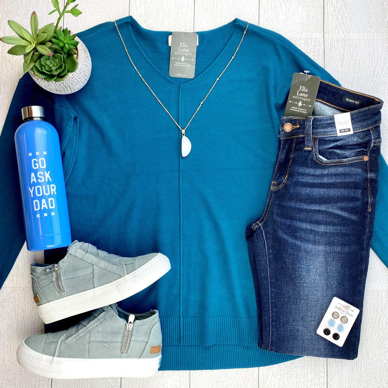 Madison V Neck Sweater - Teal Blue
