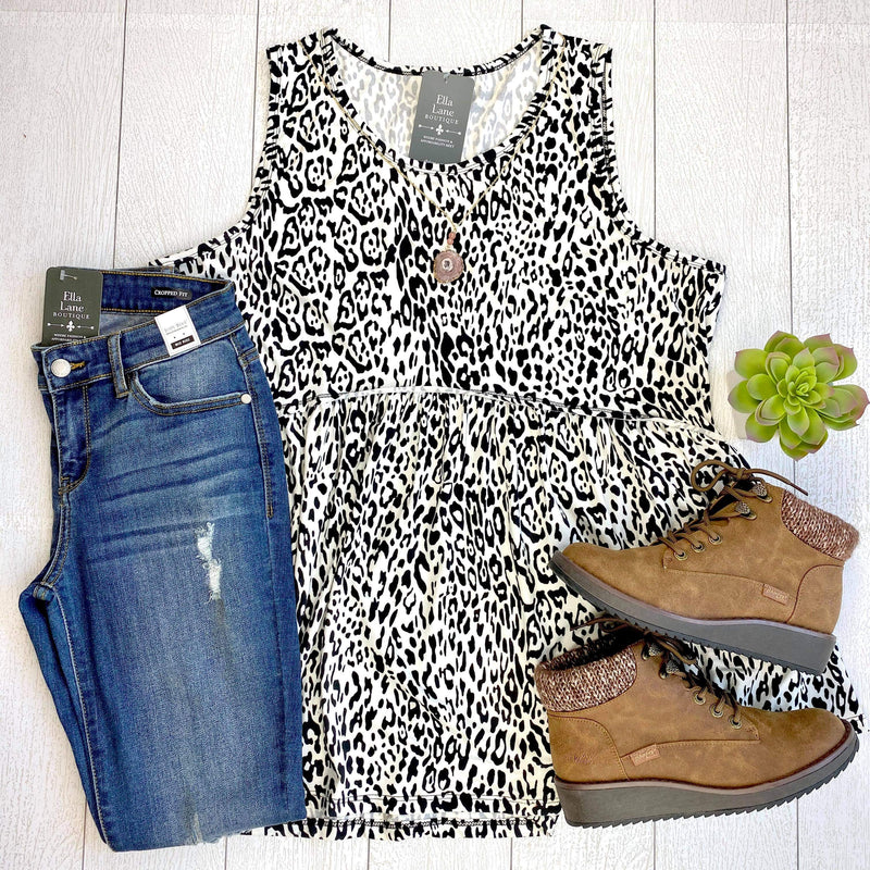 Animal Print Peplum Sleeveless Top - Ivory