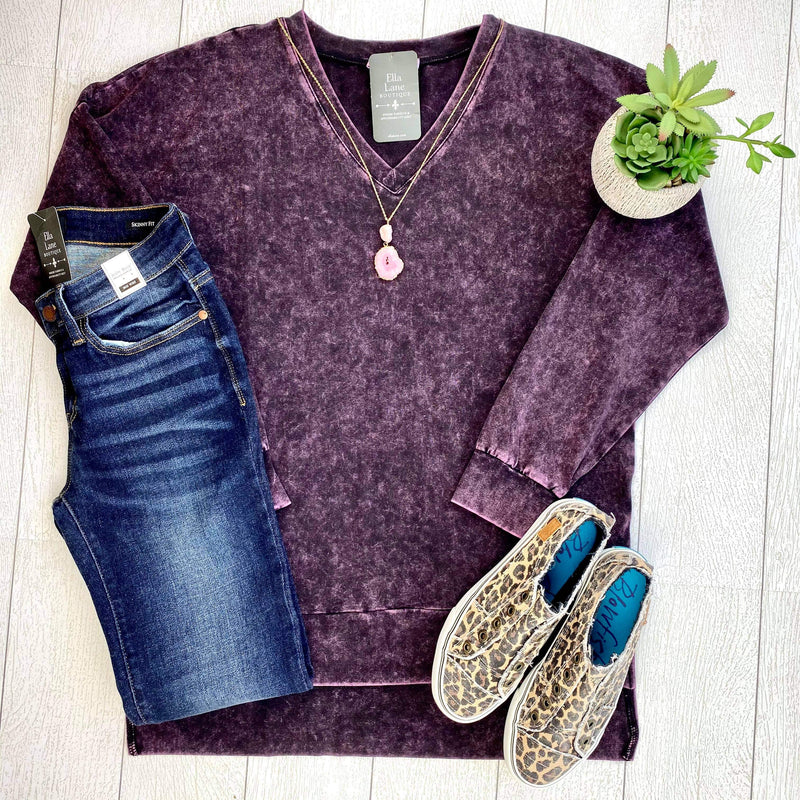 Mineral Wash Long Sleeve Top - Dark Purple