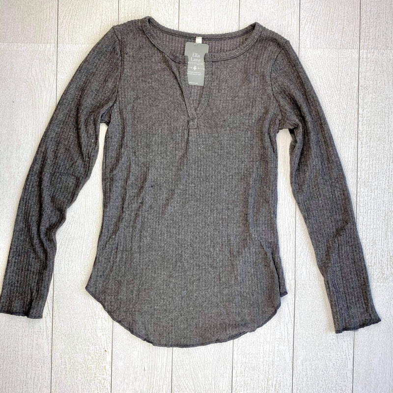 Waffle Knit Long Sleeve Top - Charcoal
