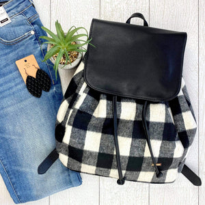 White Plaid Backpack