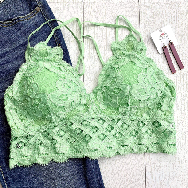 Criss Cross Lace Bralette - Pistachio FINAL SALE