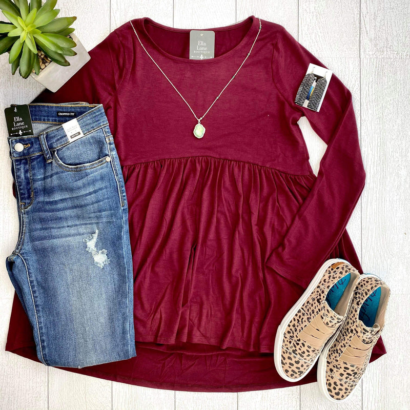 Long Sleeve Peplum Top - Dark Burgundy