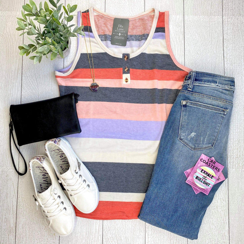 Sleeveless Striped Henley Tank