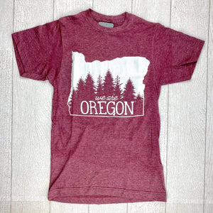 We Are Oregon Fundraiser Unisex Tee - Heather Burgundy IN STOCK