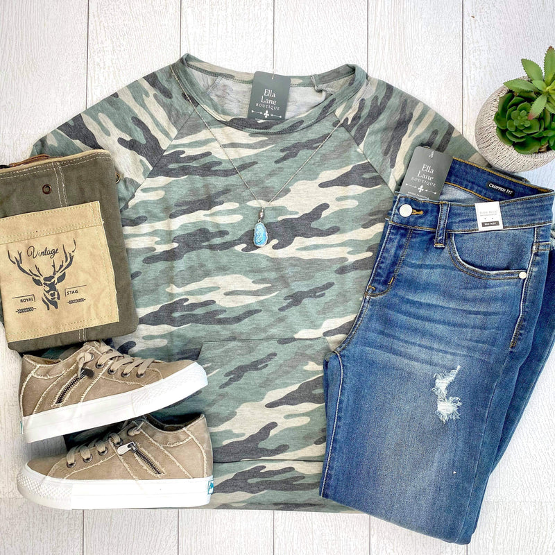 Camo Pocket Pullover Top