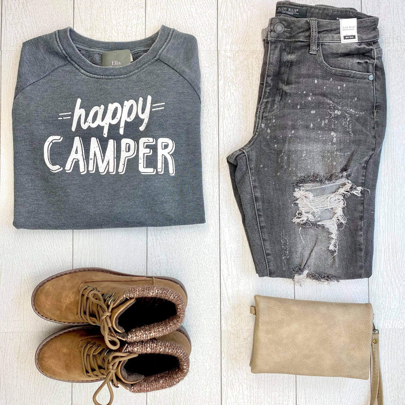 Happy Camper Pullover Sweatshirt - Charcoal
