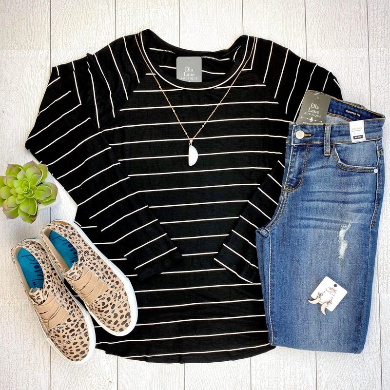 Kelsey Stripe Knit Top - Black