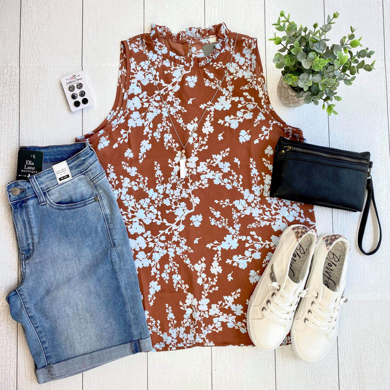 Sleeveless Floral Blouse - Cinnamon