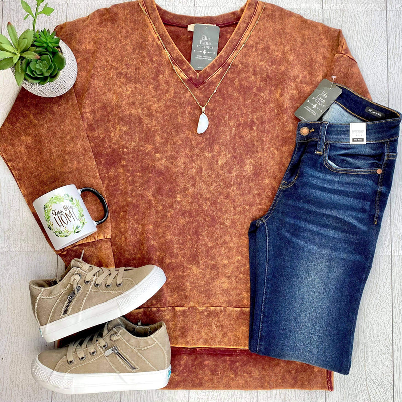 Mineral Wash Long Sleeve Top - Dark Mustard