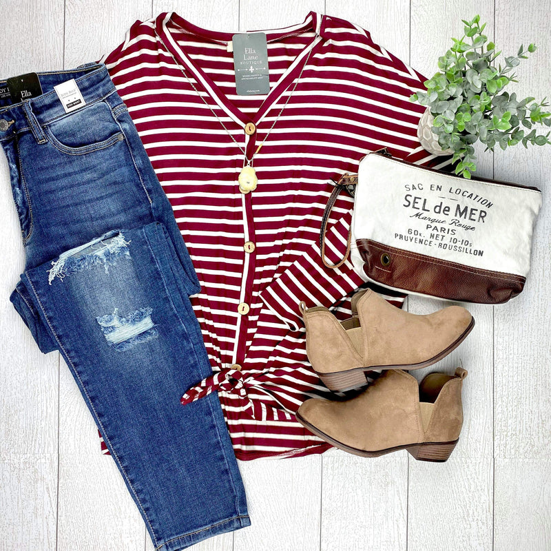 Emma Stripe Top - Burgundy