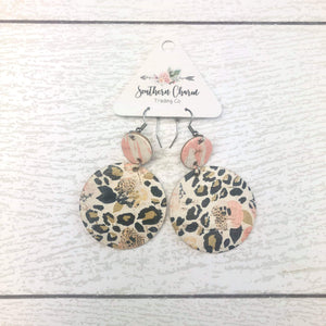 Peach with Black Floral Piggyback Earrings