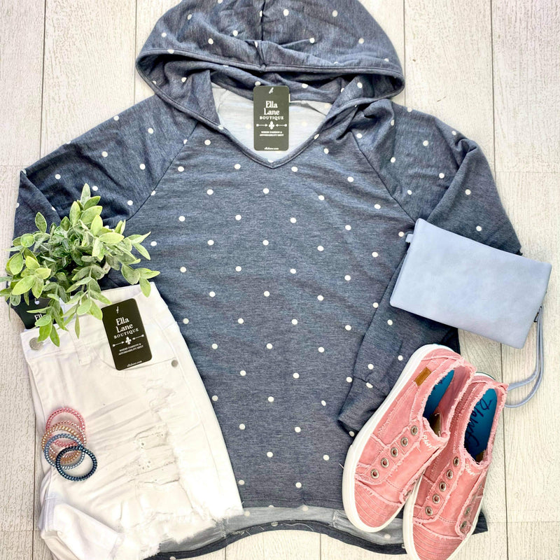 Polka Dot Hooded Top