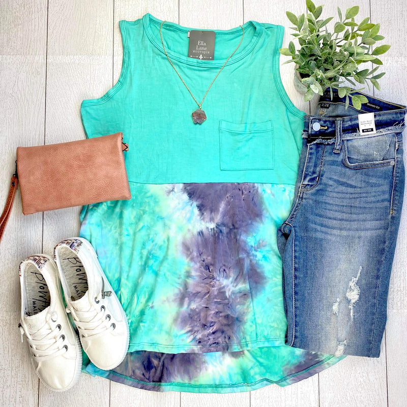 Mindy Mint Sleeveless Tank