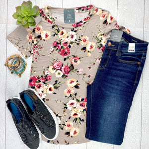 Floral Short Sleeve Top - Khaki/Mauve