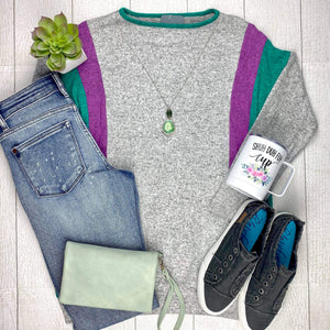 Heather Grey Side Color Block Top