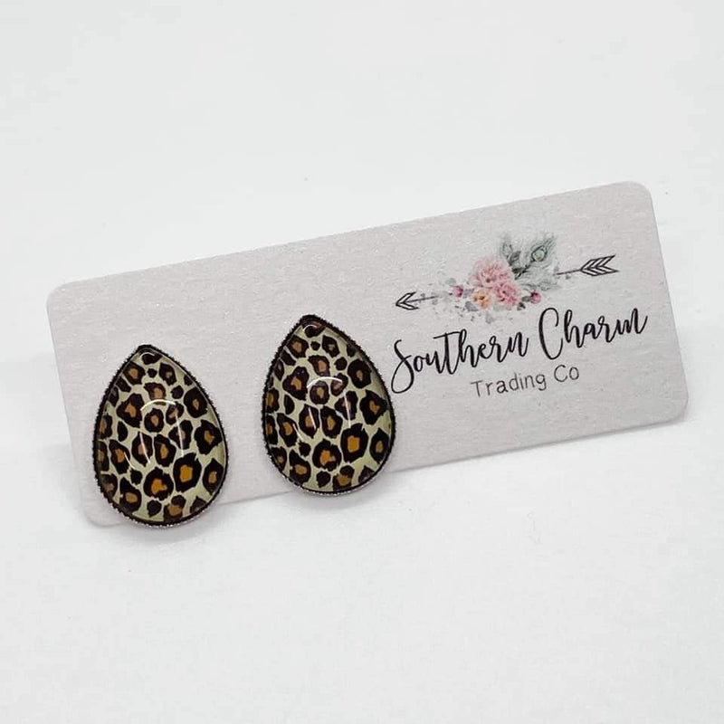Teardrop Studs - Leopard- FINAL SALE