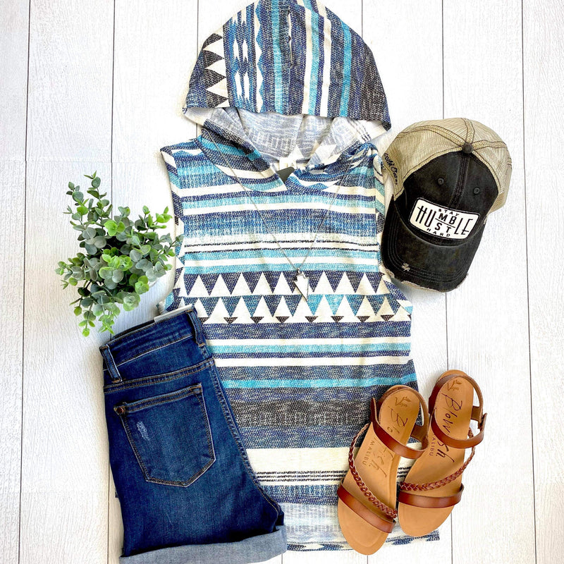 Blue Aztec Hooded Top- FINAL SALE