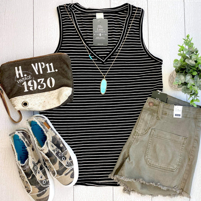 Striped V-Neck Tank - Black/White