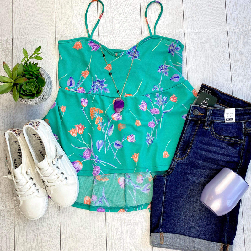 Green Floral Summer Top FINAL SALE