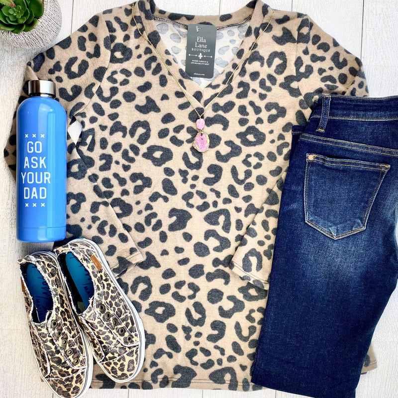 Cozy Cheetah V Neck Top