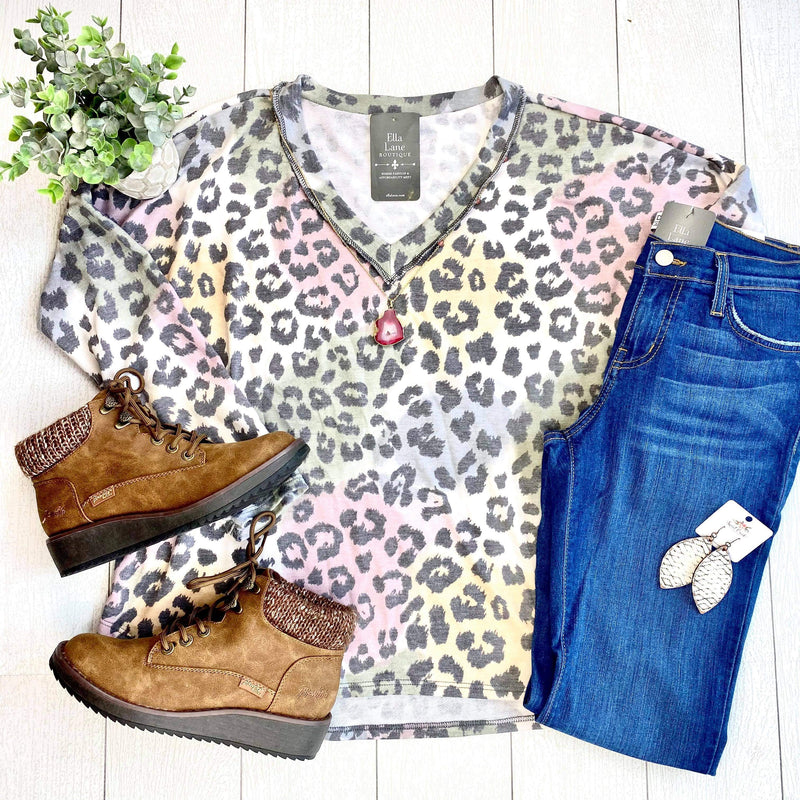 Tie Dye Leopard V Neck Top