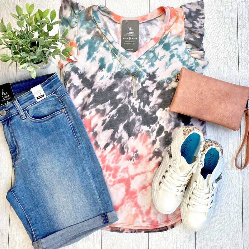 Grey/Coral Tie Dye Flutter Sleeve Top