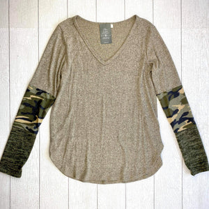 Karissa Long Sleeve Top - Oatmeal/Olive