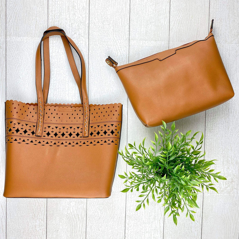 Eyelet Tote Purse - Brown
