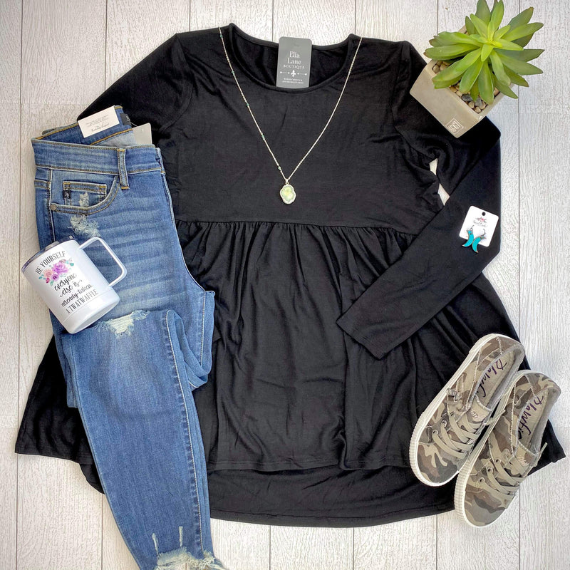Long Sleeve Peplum Top - Black