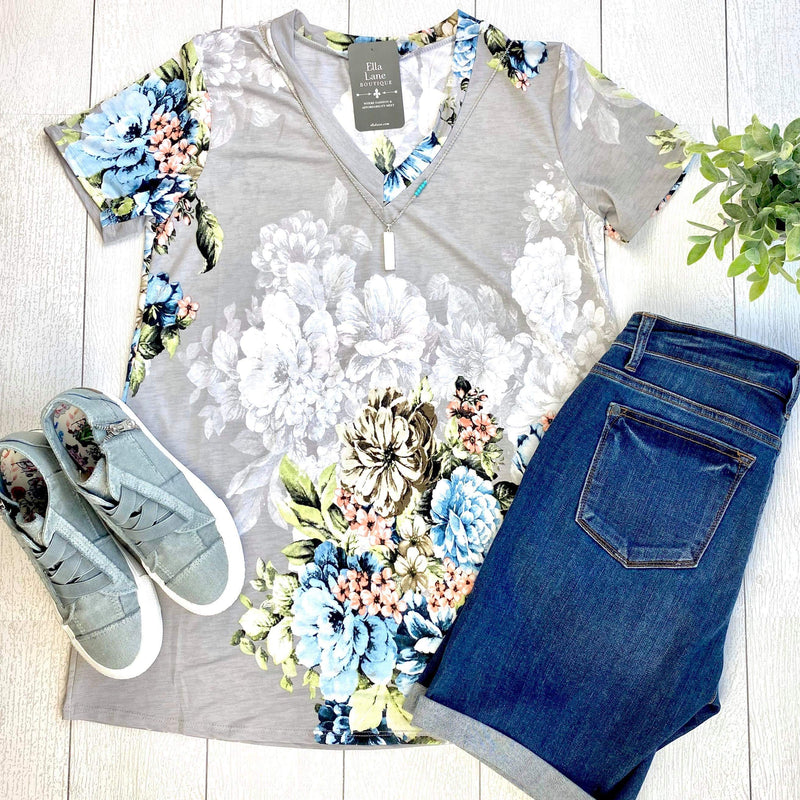 Grey and Blue Floral Top