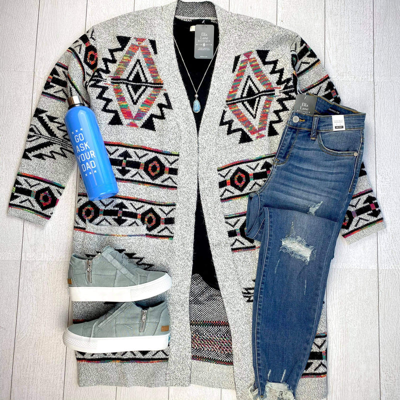 Aztec Long Pocket Cardigan