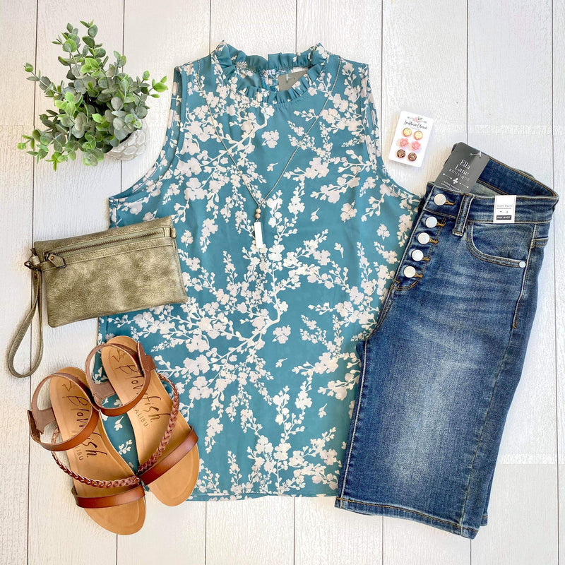 Sleeveless Floral Blouse - Teal